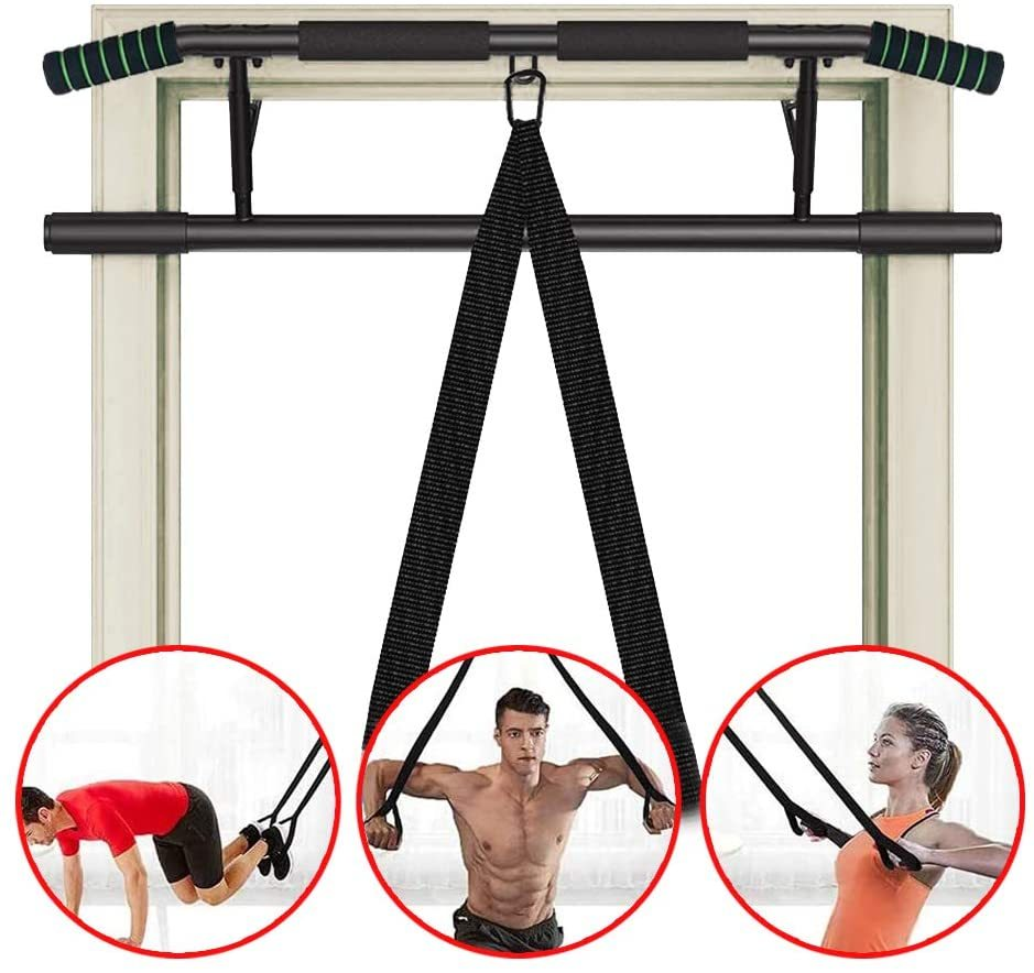 Foldable Pull Up Bar for Doorway - Home Fitness Equipment for Chin-Up/Sit-up, Strength Training and Upper Body Exercise Bar, Include Resistance Band