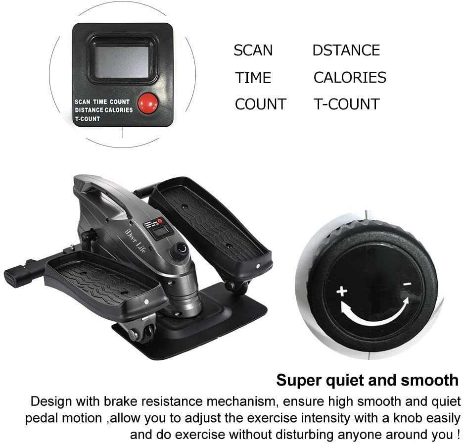 Under Desk&Stand Up Exercise Bike,Mini Elliptical Trainers Stepper Pedal w/Adjustable Resistance and LCD Display,Fitness Exercise Peddler for Home&Office Workout