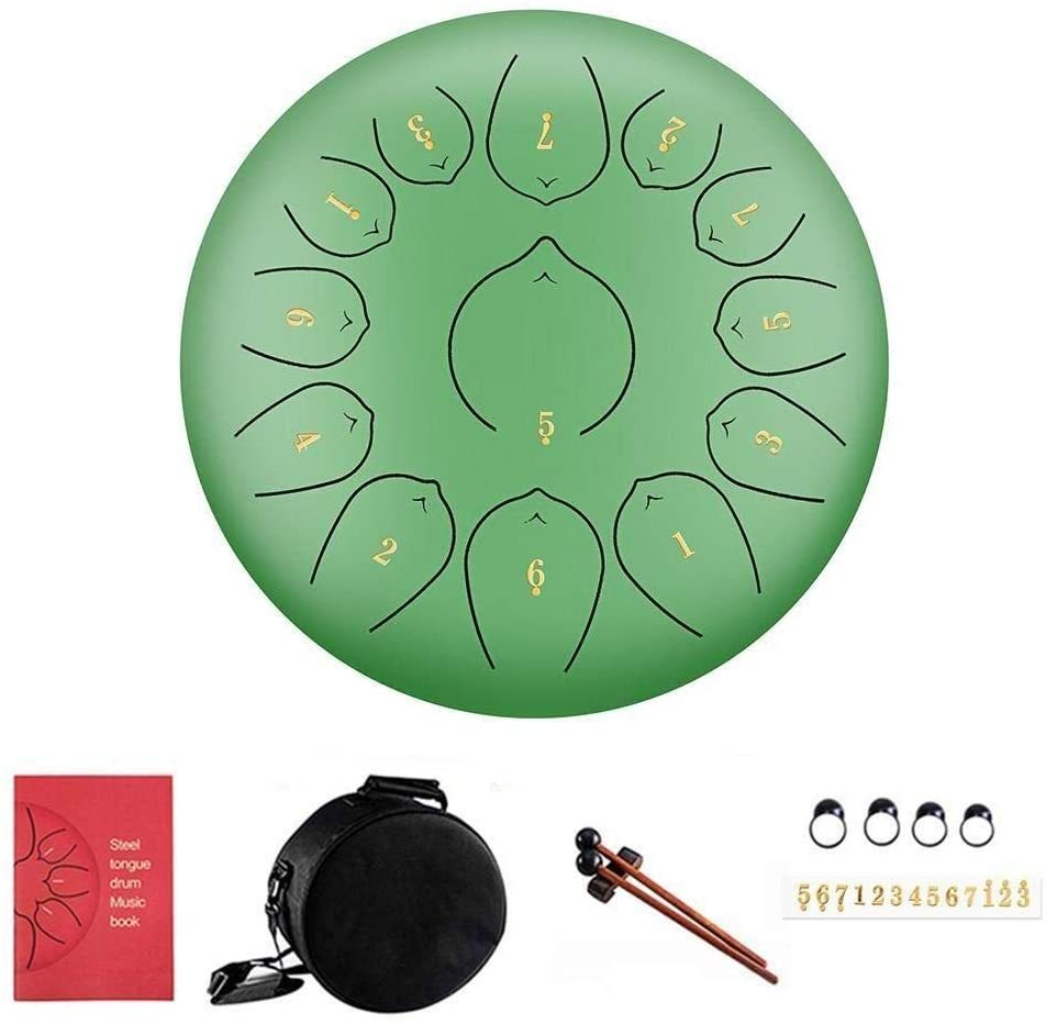 13 Notes 12 Inches Percussion Instrument Steel Drum with Pair of Mallets Music Book,Bag,Notes Stickers,Finger Picks Steel Tongue Drum