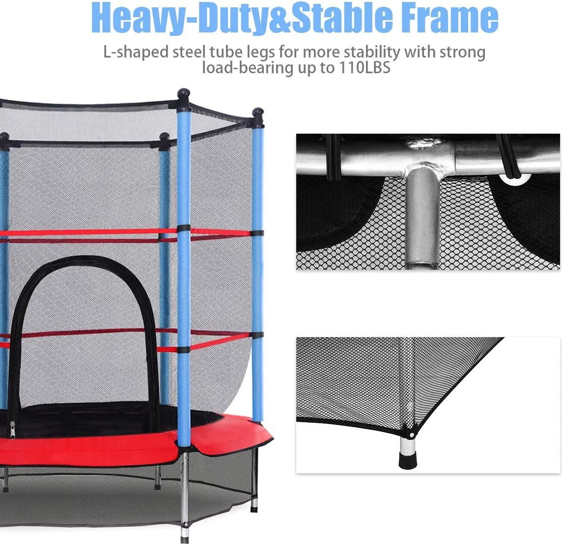 "55"" Kids Trampoline, with Safety Enclosure Net & Spring Pad, Bulit-in Zipper Heavy Duty Steel Frame, Outdoor Indoor Mini Trampolines for Kids"