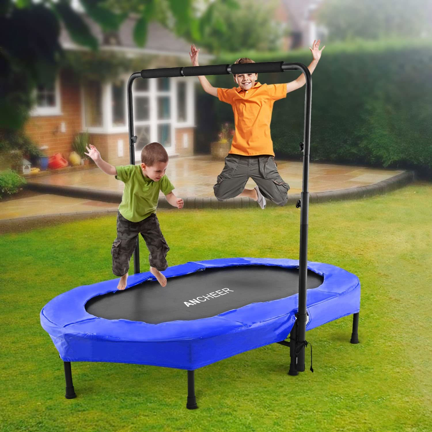 Mini Rebounder Trampoline with Adjustable Handle for Two Kids, Parent-Child Trampoline