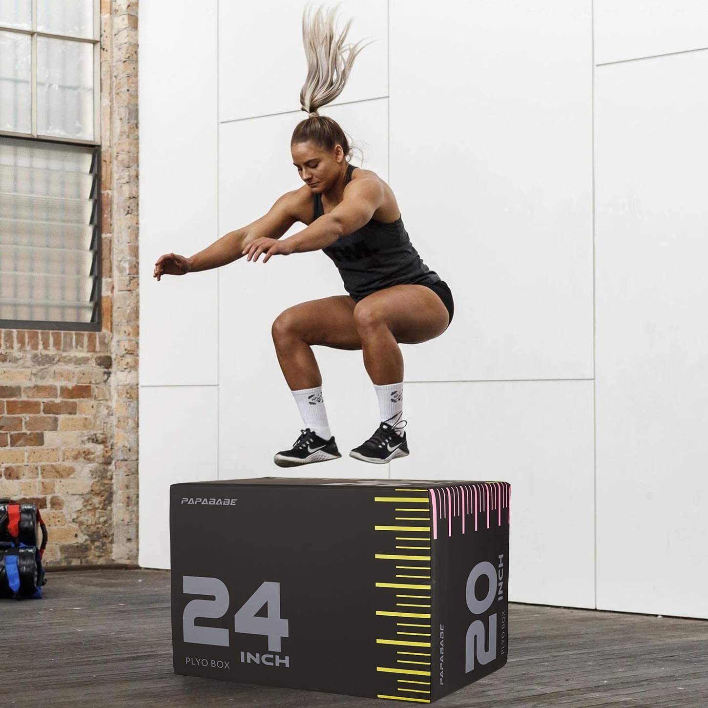 "3 in 1 Foam Plyometric Box Jumping Exercise 20'' x 24'' x 30"", Foam Plyo Box Crossfit Boxes for HIIT Exercises, MMA & Crossfit Workouts"