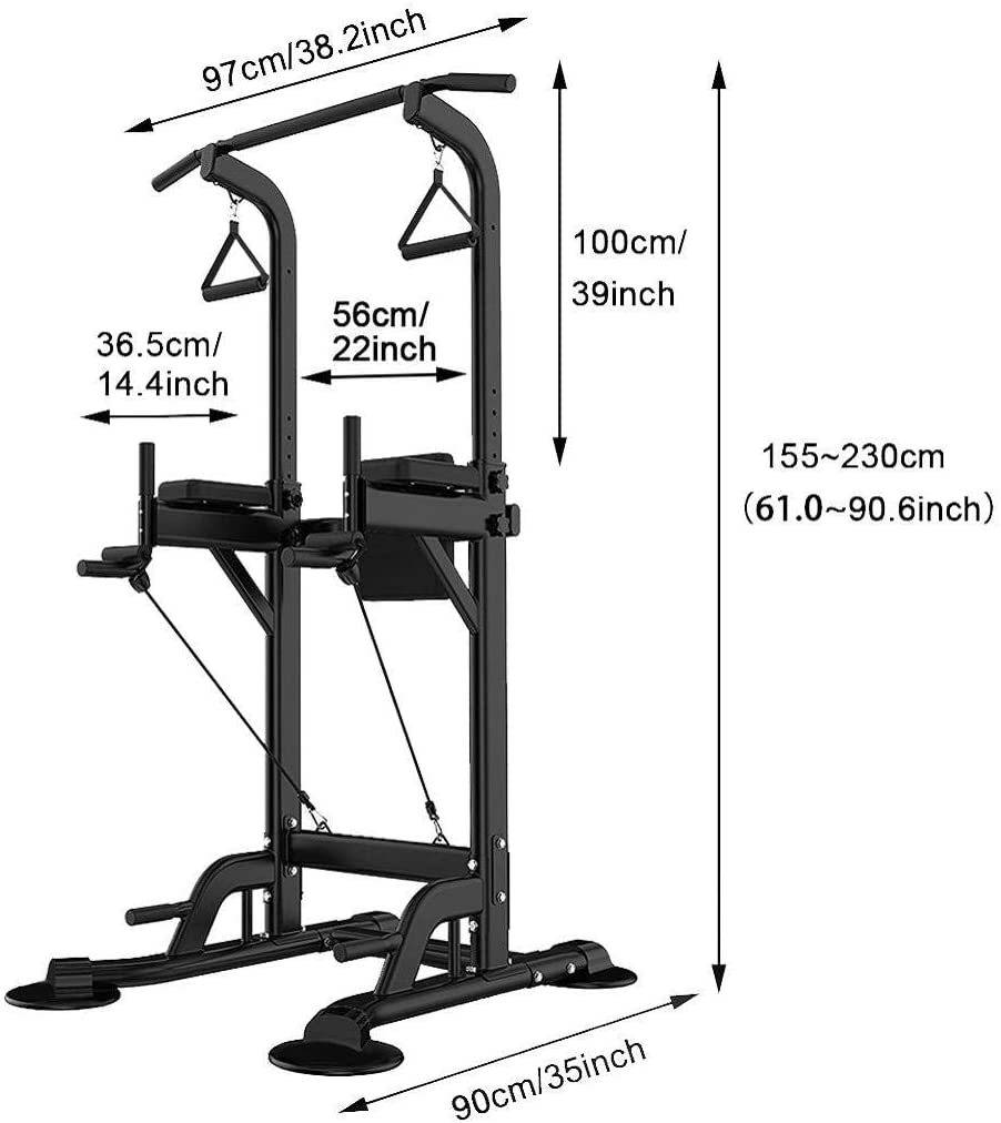 Multi-Function Power Tower Adjustable Height Home Fitness Workout Station Dip Stands Pull up Bar Push Up