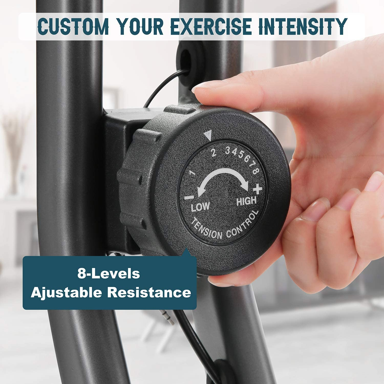 MaxKare Folding Exercise Bike Stationary Magnetic Exercise Bike Machine with Adjustable Resistance Heart Rate Detector LCD Monitor Oversized Seat Cushion for Home Indoor Woman