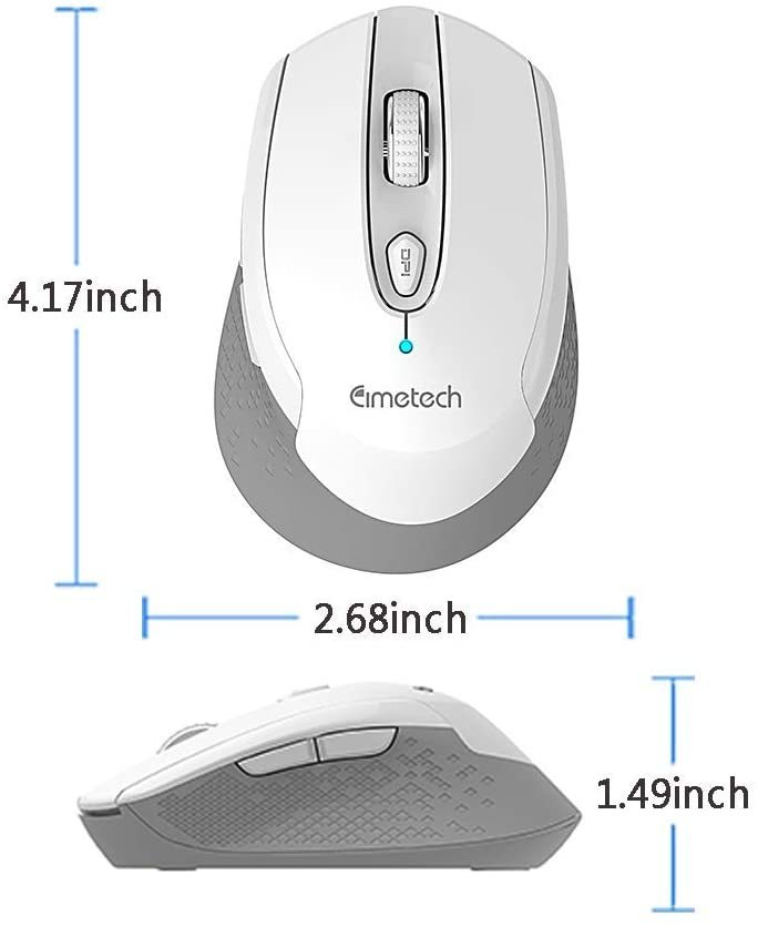Mouse for Laptop, cimetech 2.4G Cordless Mouse with USB Receiver, Noiseless and Silent Computer Mice with 3200 DPI 6 Buttons, Battery Included (2PACK)