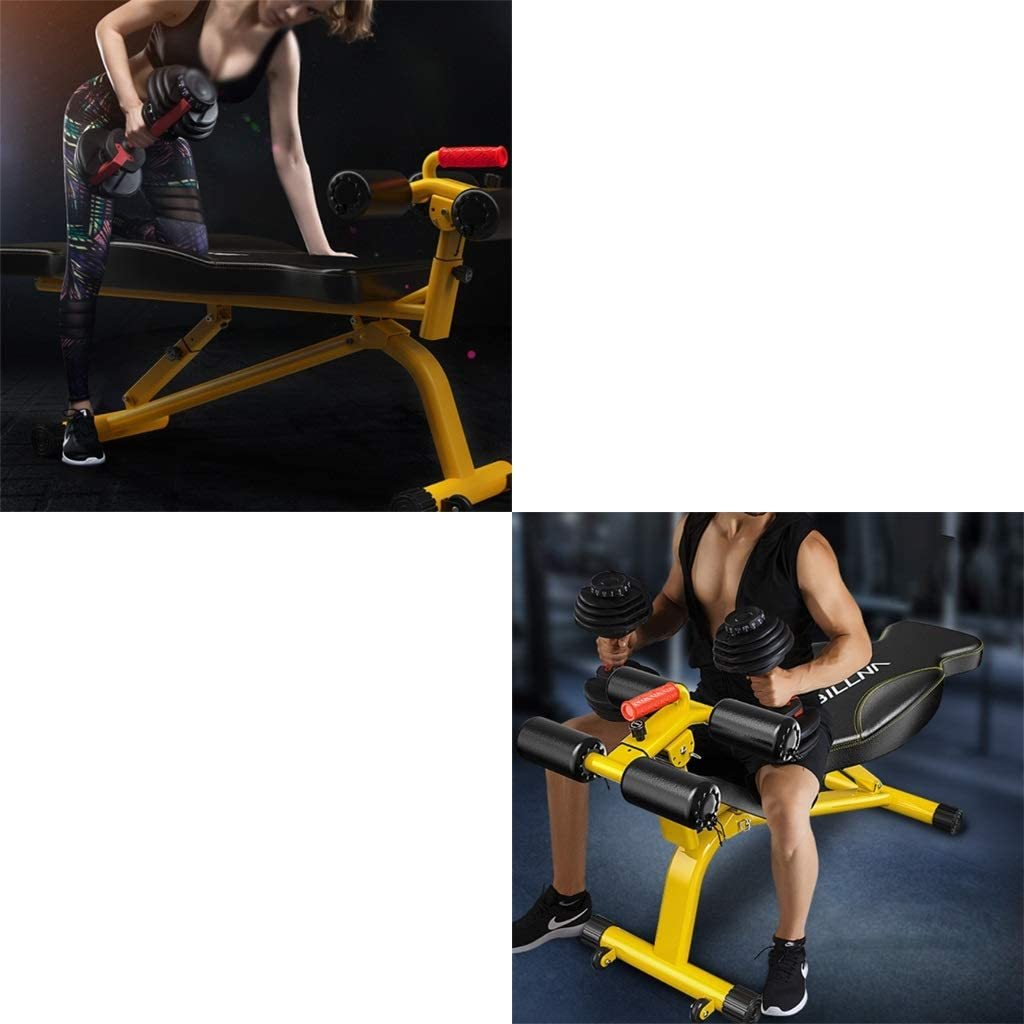 Sit Up Bench Adjustable Supine Board For Home Use, Multifunctional Dumbbell Bench For Men And Women, Butterfly-shaped Abdominal Board, Fitness Equipment ( Color : Yellow , Size : 1343857-73cm )
