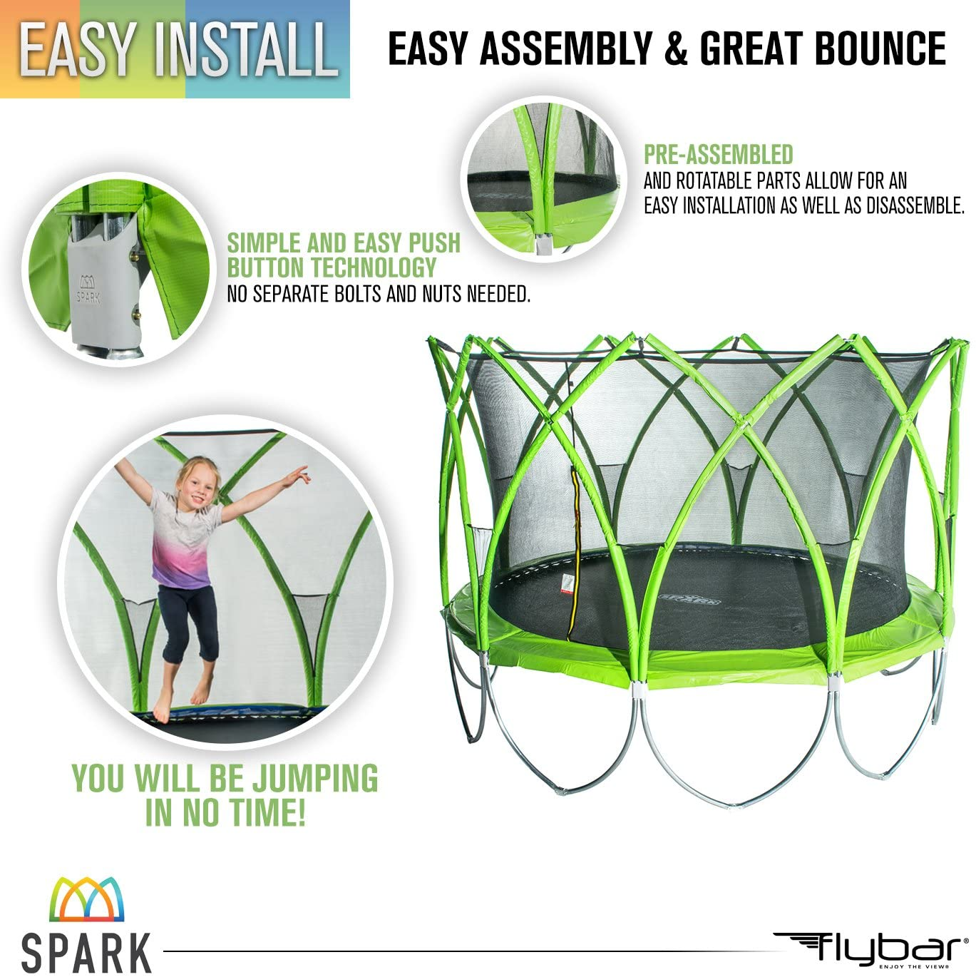 Spark Trampolines with Padded Safety Enclosure Net & Available Add-Ons to Become a Full Playground (8, 10, 12, 14 Foot Options)