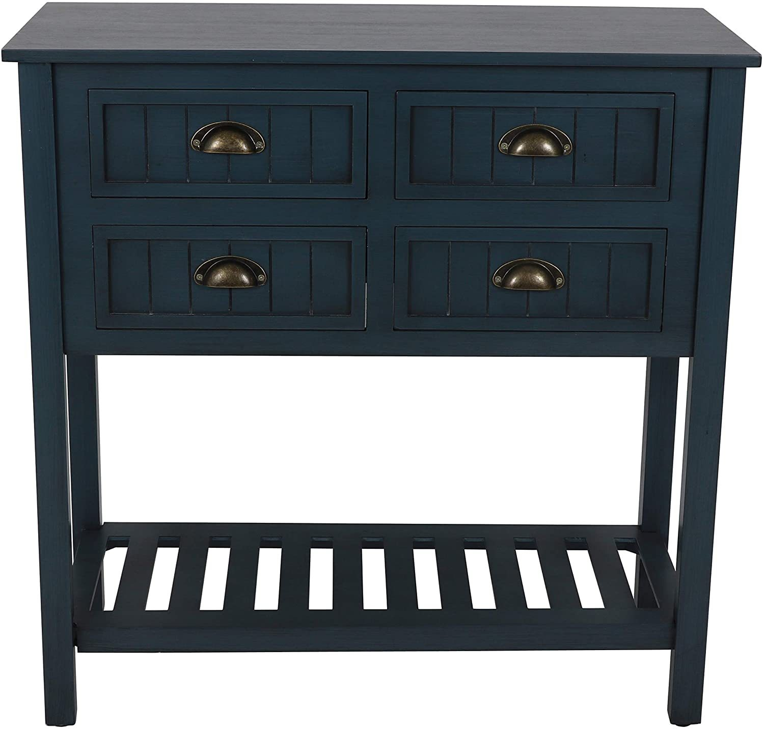 Bailey Bead board 4-Drawer Console Table, 14x32x32, Antique Navy