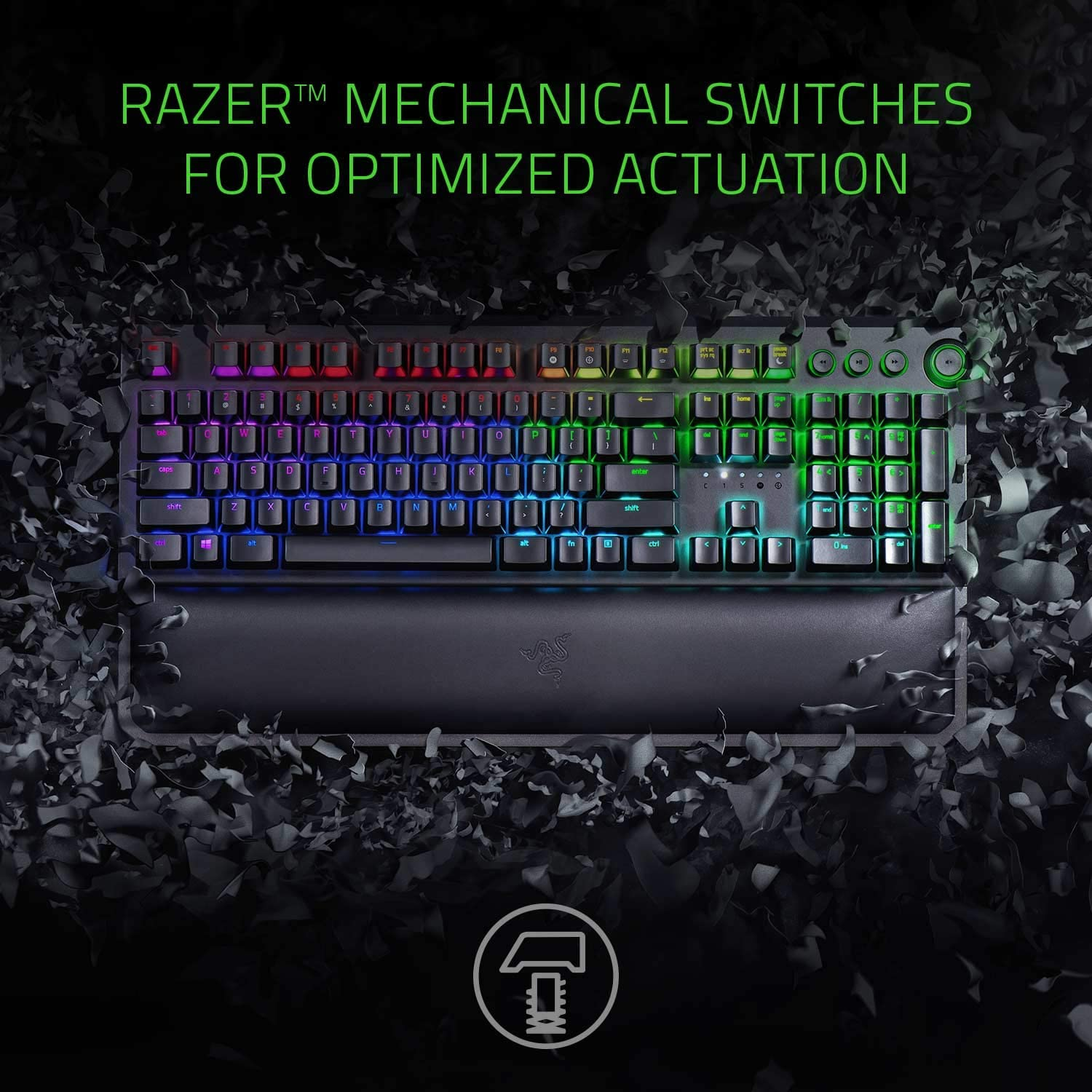 BlackWidow Elite Mechanical Gaming Keyboard: Green Mechanical Switches - Tactile & Clicky - Chroma RGB Lighting - Magnetic Wrist Rest - Dedicated Media Keys & Dial - USB Passthrough