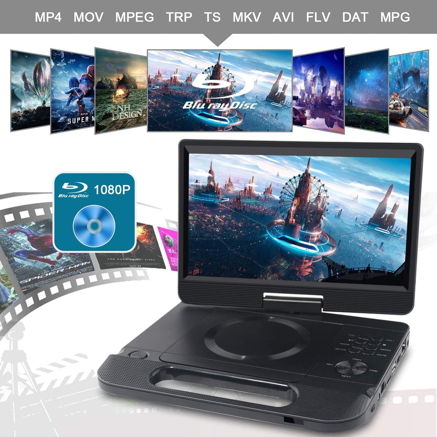 10.1 Inch Portable Blu-Ray DVD Player with Rechargeable Battery, Support USB/SD Card, HDMI Out & AV in, Snyc Screen, 1080P Video, Dolby Audio, Last Memory(Black)