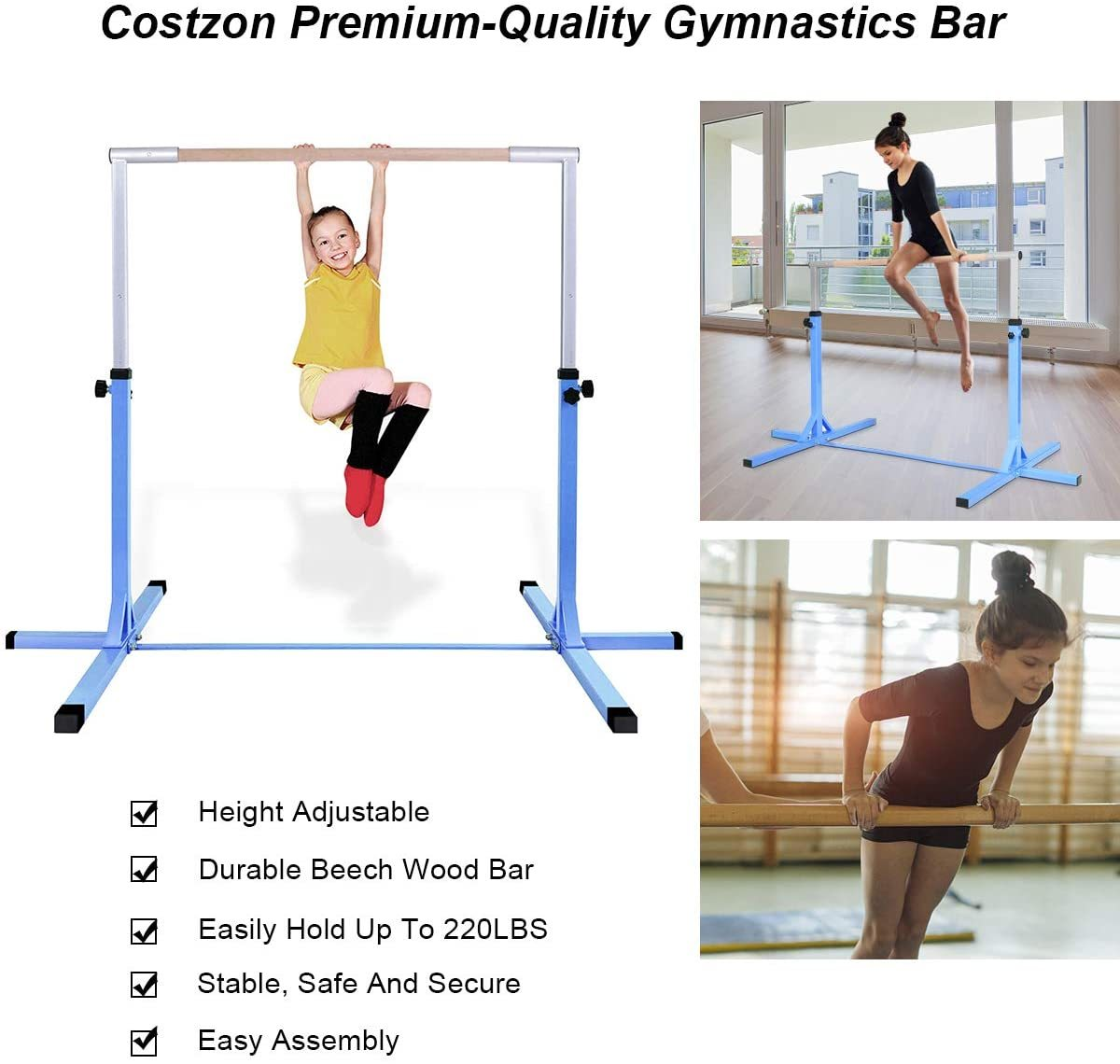 Gymnastic Training Bar, Junior Horizontal Kip Bar, 3' to 5' Height Adjustable, Gymnasts 1-4 Levels, 220 lbs Weight Capacity, Ideal for Indoors, Home Practice