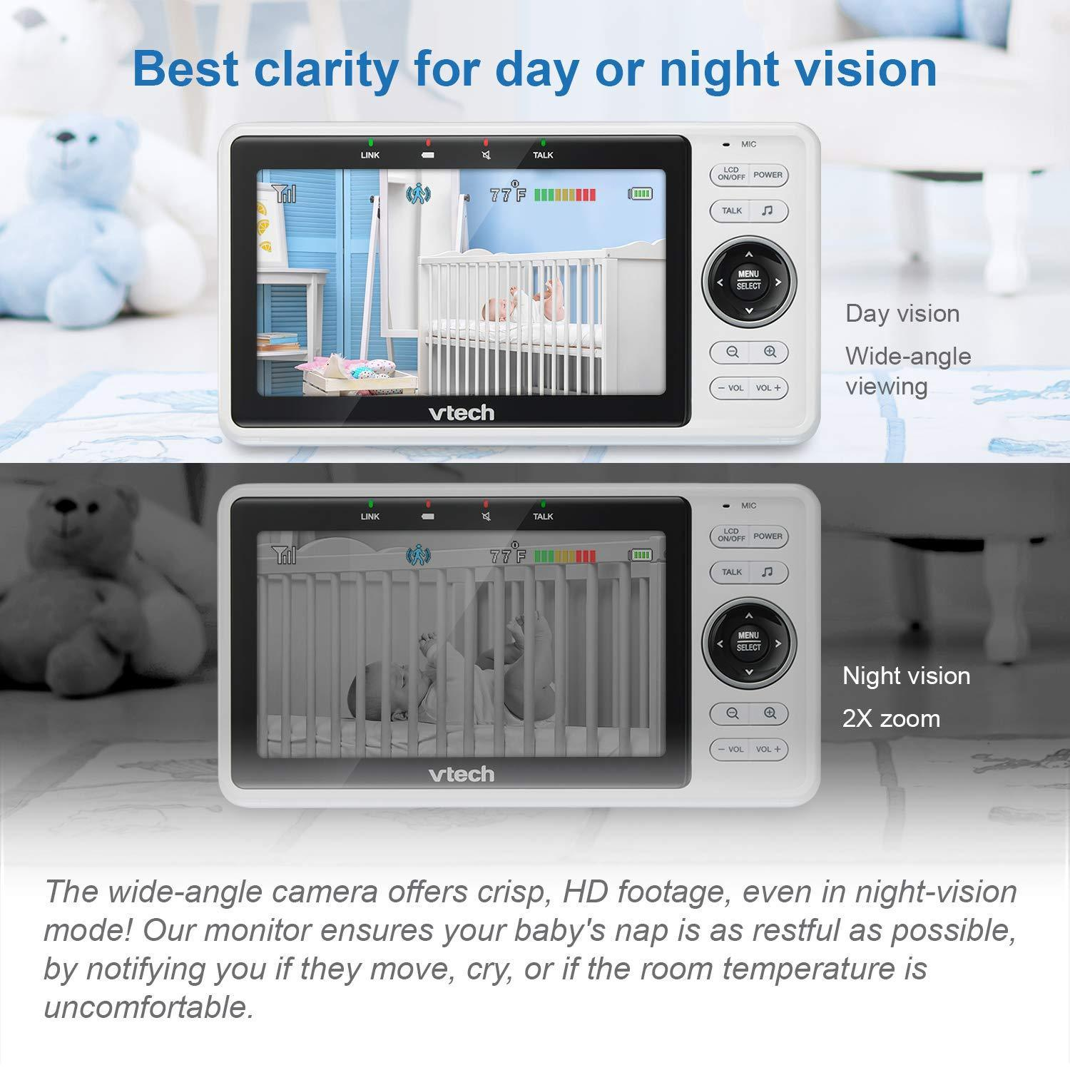 "VM901 WiFi Video Baby Monitor with Free Live Remote Access, 1080p Full HD Camera, 5"" Screen, Pan Tilt Zoom, HD Night Vision, 2-Way Audio Talk, Motion & Temperature Alert, Work with iOS, Android"