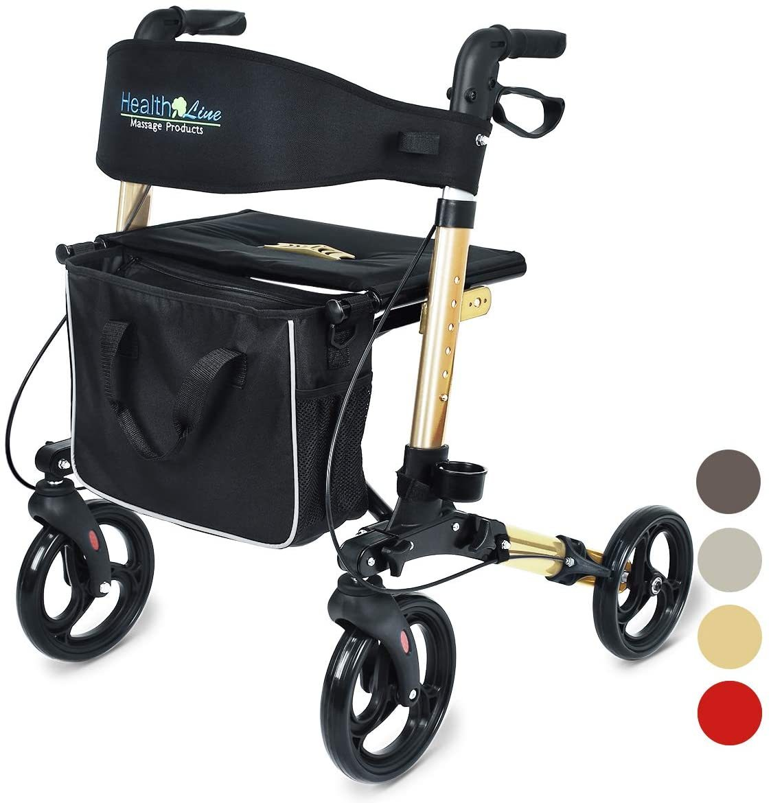 Compact Rollator for Seniors, Aluminum Side-Fold Rolling Walker with Paded Seat, Bright Champagne