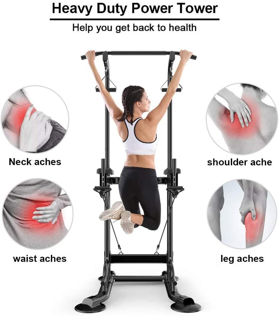Heavy Duty Adjustable Power Tower Multi-Function, Strength Training Dip Stand Workout Station Fitness Equipment for Home Gym,Workout Exercise Workout Rack,Black