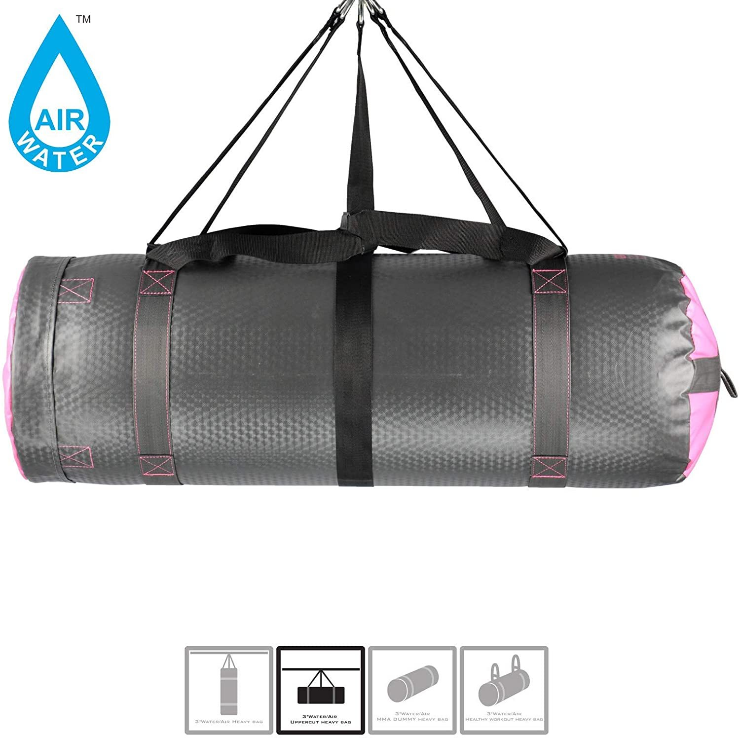 Training & Fitness Water/Air Heavy Bag, Uppercut Workout Grappling MMA Punching Bag (Grey/Pink)