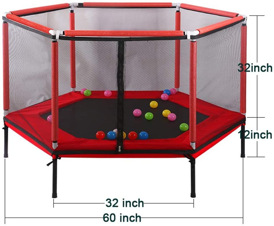 Kids Mini Home Trampoline with Enclosure Net Jumping Toys