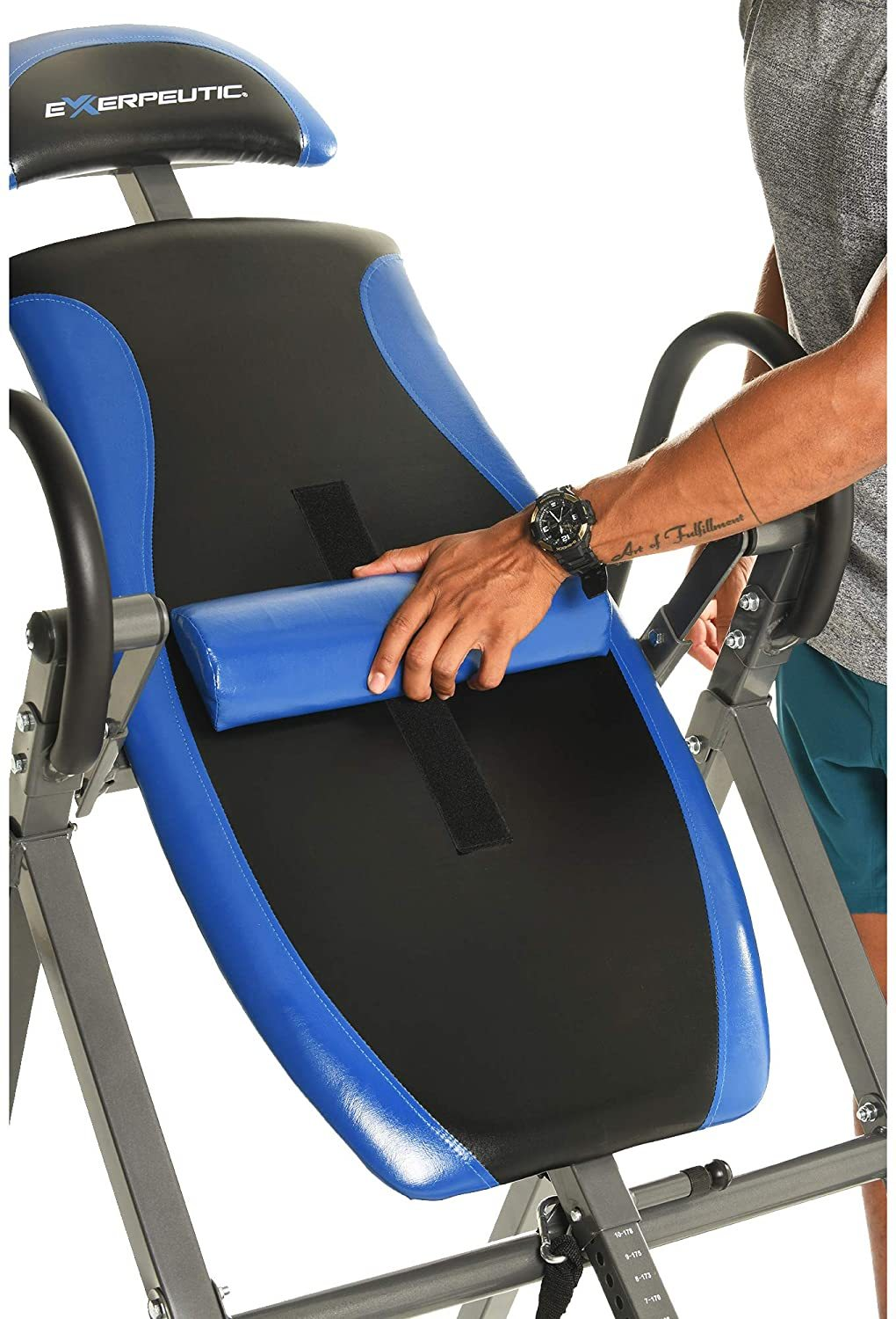 150L Triple Safety Locking Inversion Table with Secondary Auto Safety Lock, Visual Lock Indicator and Lumbar Pillow