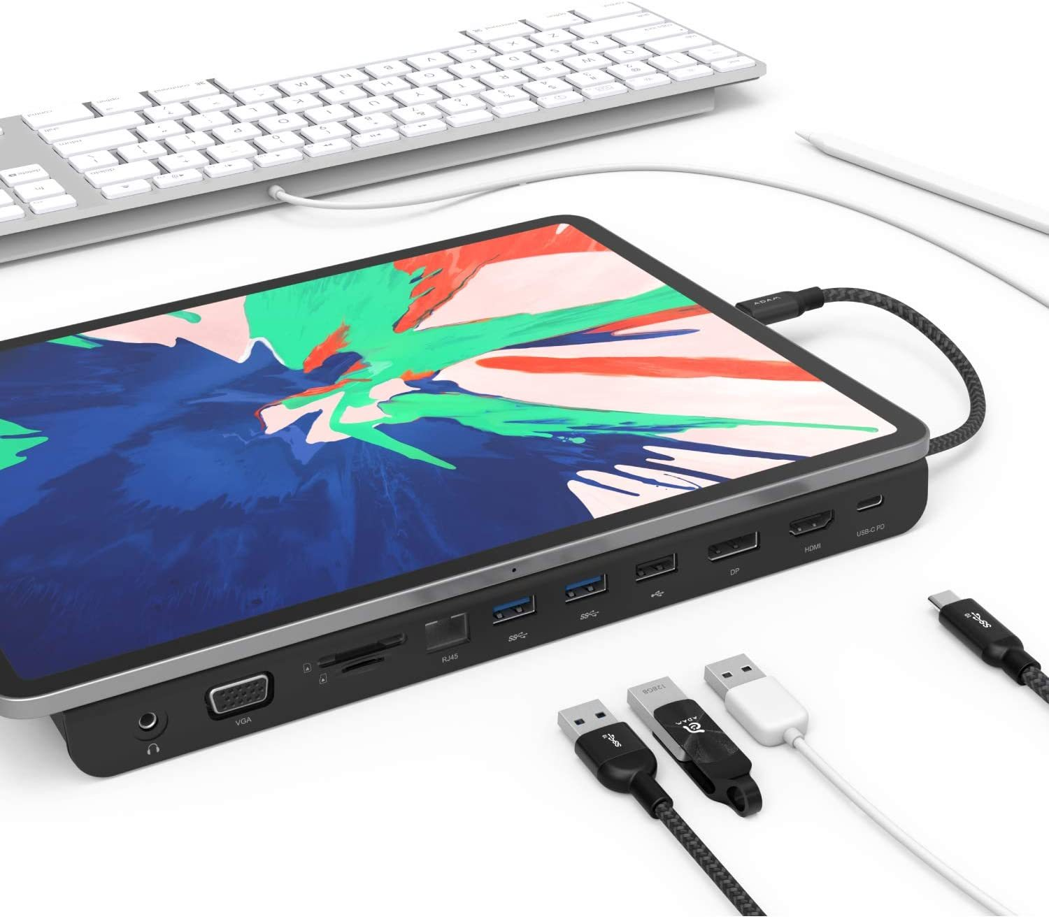 elements Hub Pro USB-C Docking Station - HDMI, VGA, DisplayPort - Ethernet - 3X USB Ports - USB-C with PD - SD and microSD Card Readers - 3.5 mm Audio Out - Built-in Phone Stand