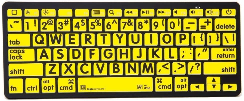 XL Print - black on yellow Bluetooth Mini Keyboard Compatible with Apple iPad, iPhone, iPod,and Android - Part Number LKBU-LPBY-BTON-US
