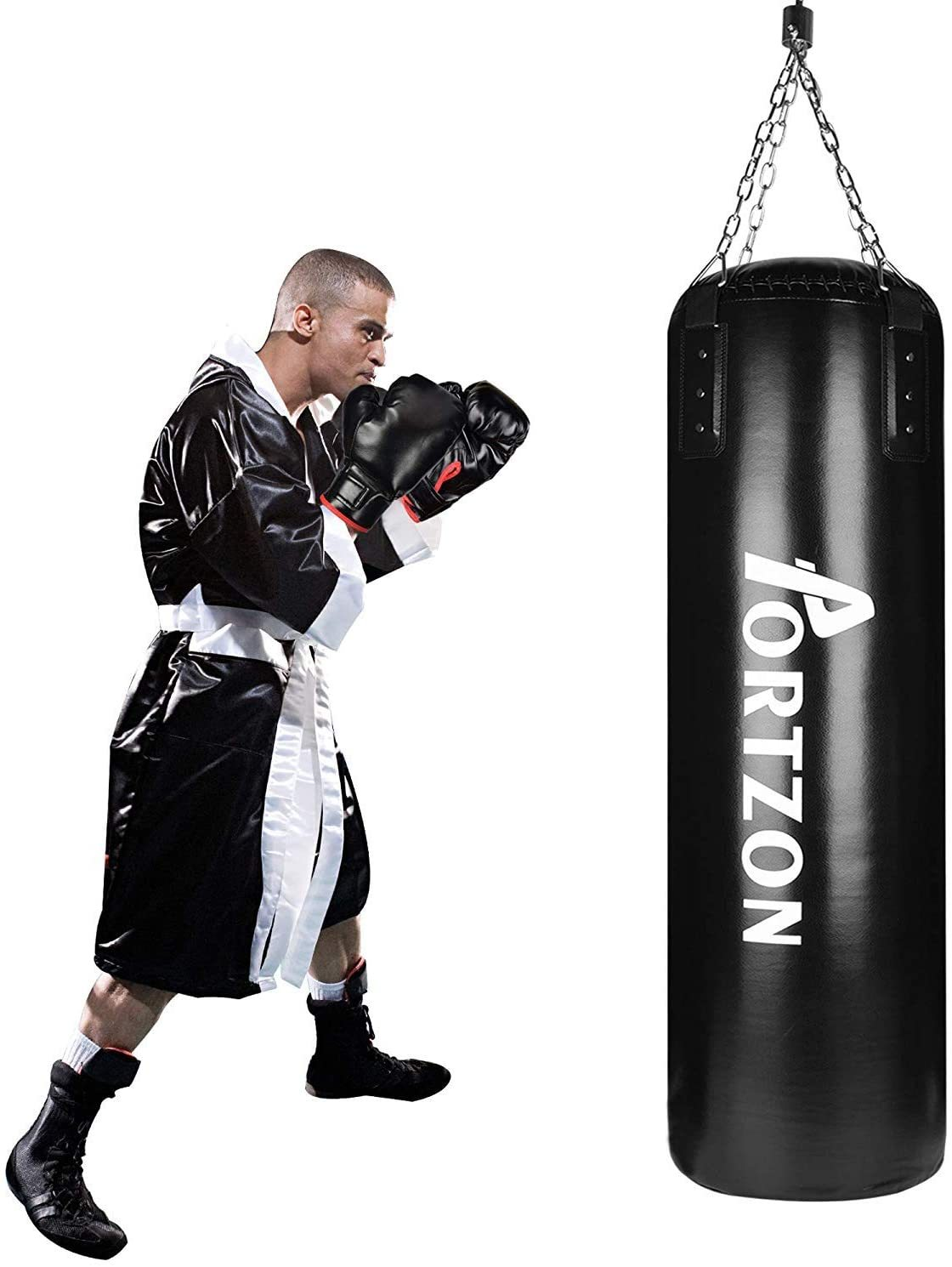 Punching Bag Set Boxing Training MMA Heavy Bags with Punch Gloves Chain Ceiling Hooker 5 Piece Indoor Sports Sets,45 Lbs