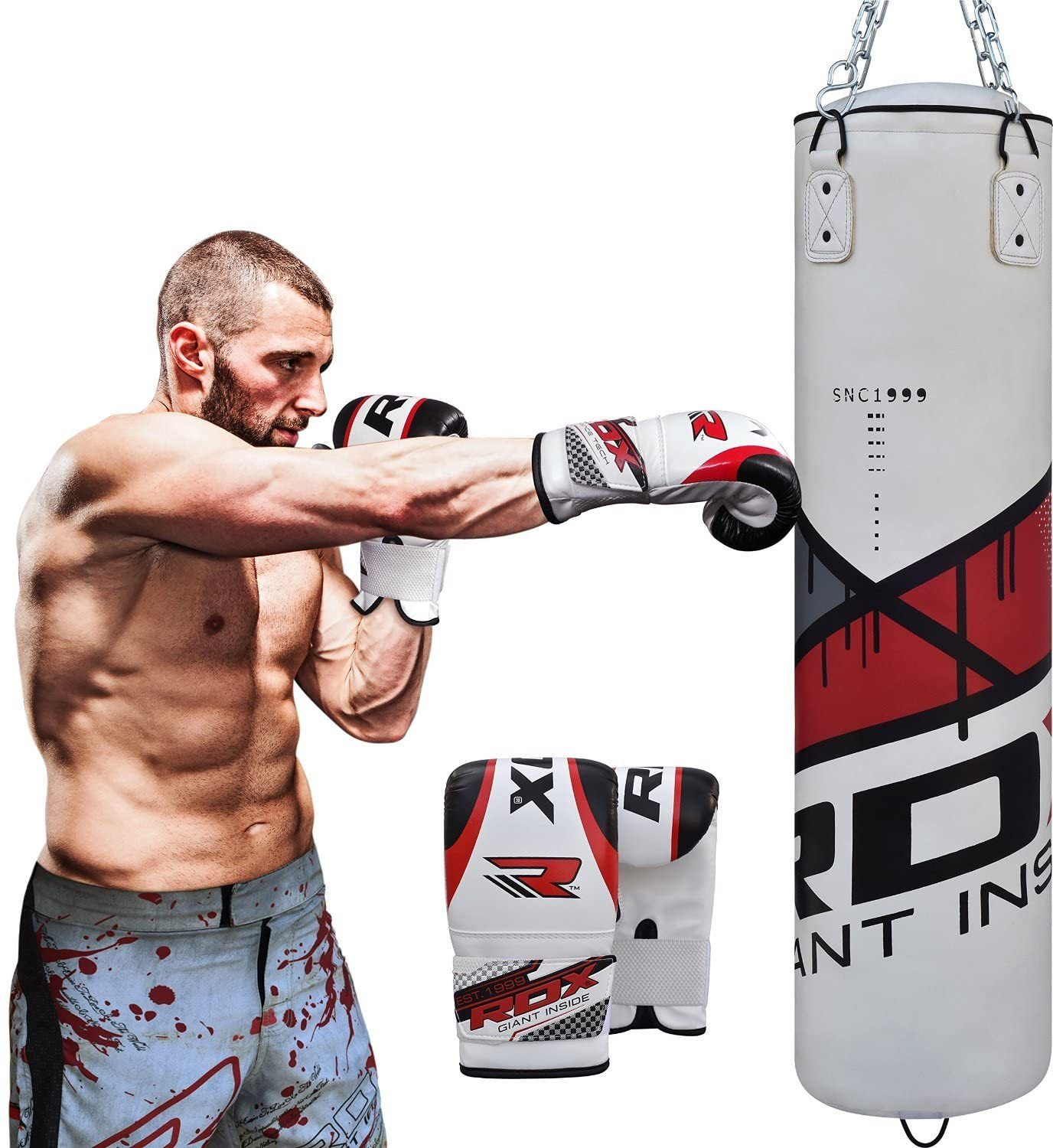 Punching Bag UNFILLED Set Kick Boxing Heavy MMA Training with Gloves Punching Mitts Hanging Chain Muay Thai Martial Arts 4FT 5FT