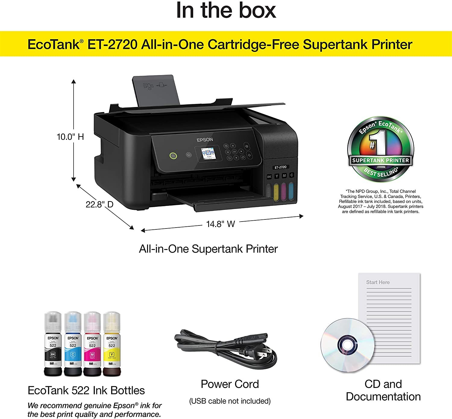 EcoTank ET-2720 Wireless Color All-in-One Supertank Printer with Scanner and Copier - Black