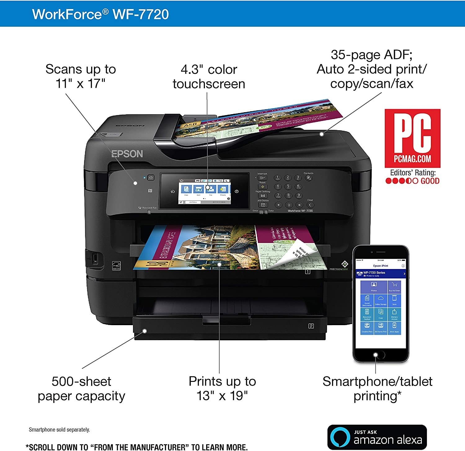 WorkForce WF-7720 Wireless Wide-format Color Inkjet Printer with Copy, Scan, Fax, Wi-Fi Direct and Ethernet, Amazon Dash Replenishment Enabled
