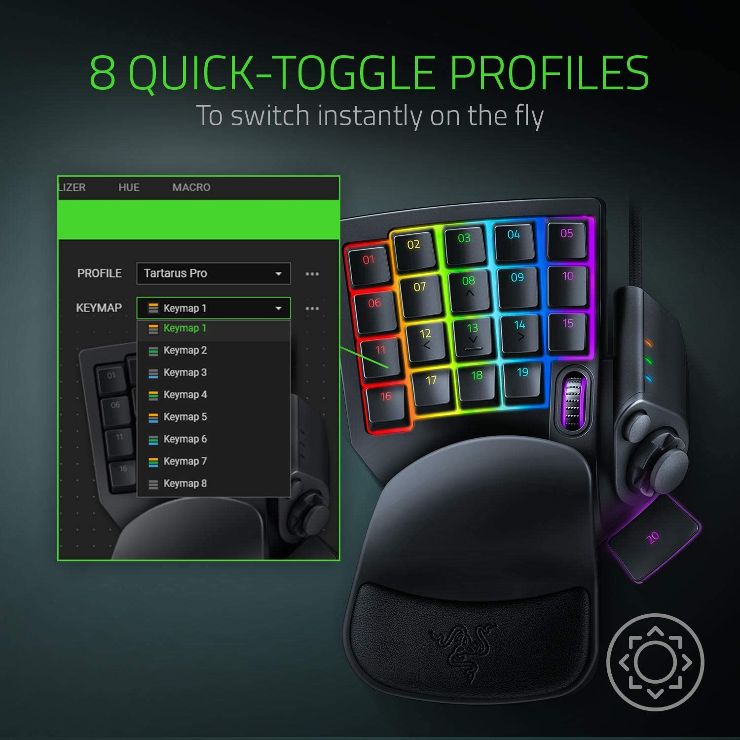 Tartarus Pro Gaming Keypad: Analog-Optical Key Switches - 32 Programmable Keys - Customizable Chroma RGB Lighting - Programmable Macros - Variable Key Press Pressure Sensitivity - Classic Black