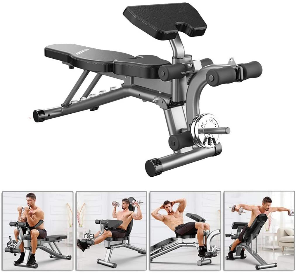 Dumbbell Bench Home sit-ups Fitness Equipment Foldable Supine Board Multifunctional Weightlifting Bed 250kg(Does not Include Barbell Tablets) Benches