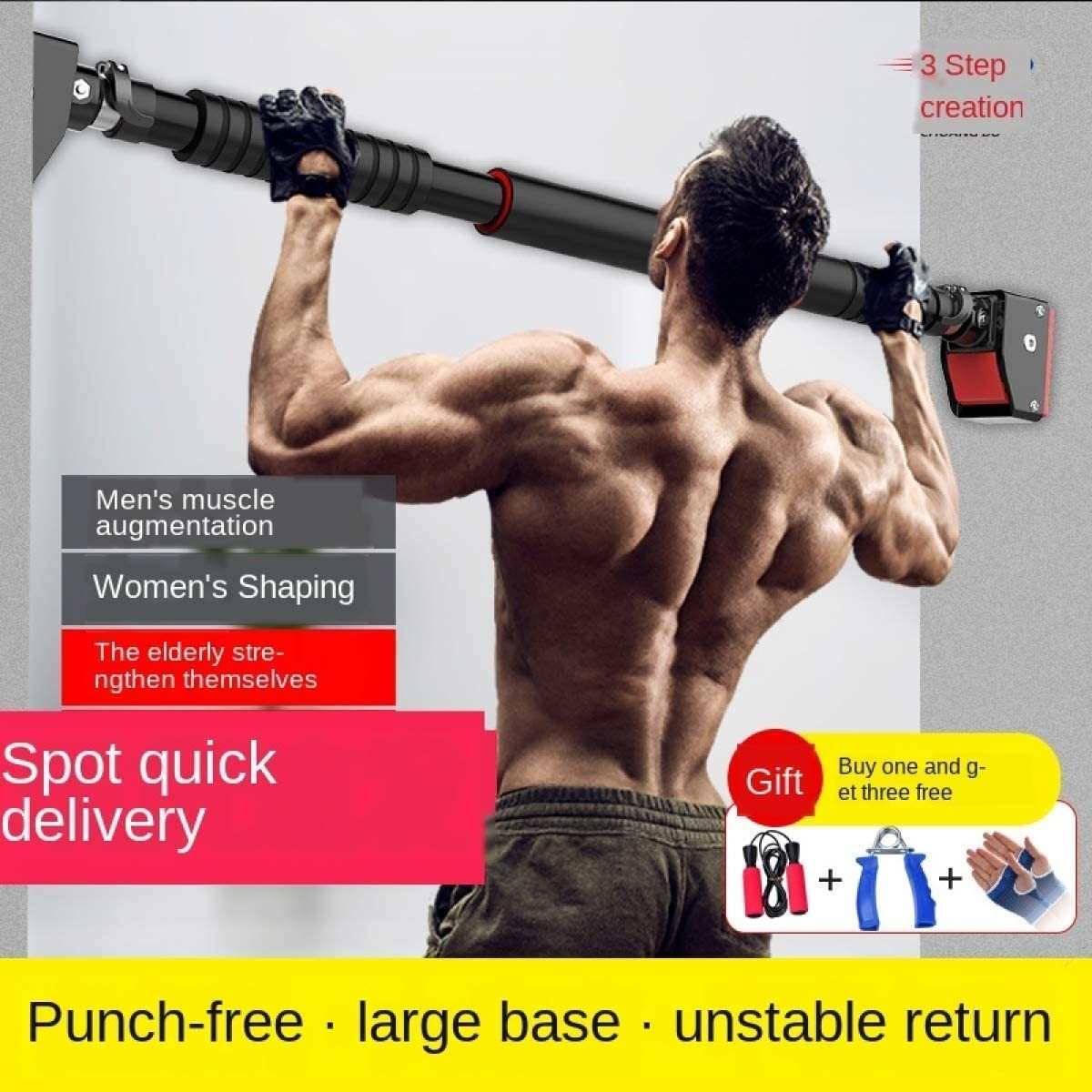 Screwless Door 72-140cm with Lock, Fixed Horizontal Rod Holder Household Ring Pull Up Training Rod 350kg, Fitness Pull-up Rod is Safe and Durable