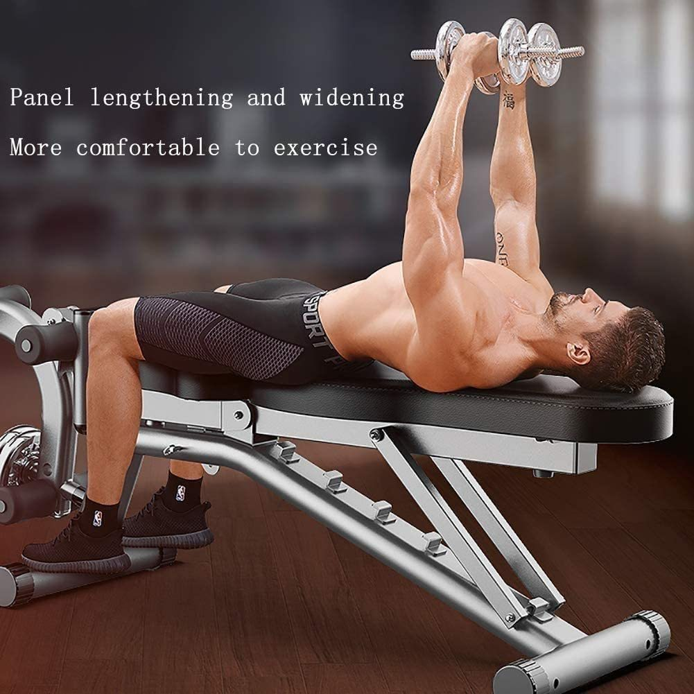 Folding 90°Dumbbell Bench, Multifunction Sit-up Fitness Equipment, Four in One Adjustable Home Supine Board for Whole Body Training Men and Women General Purpose