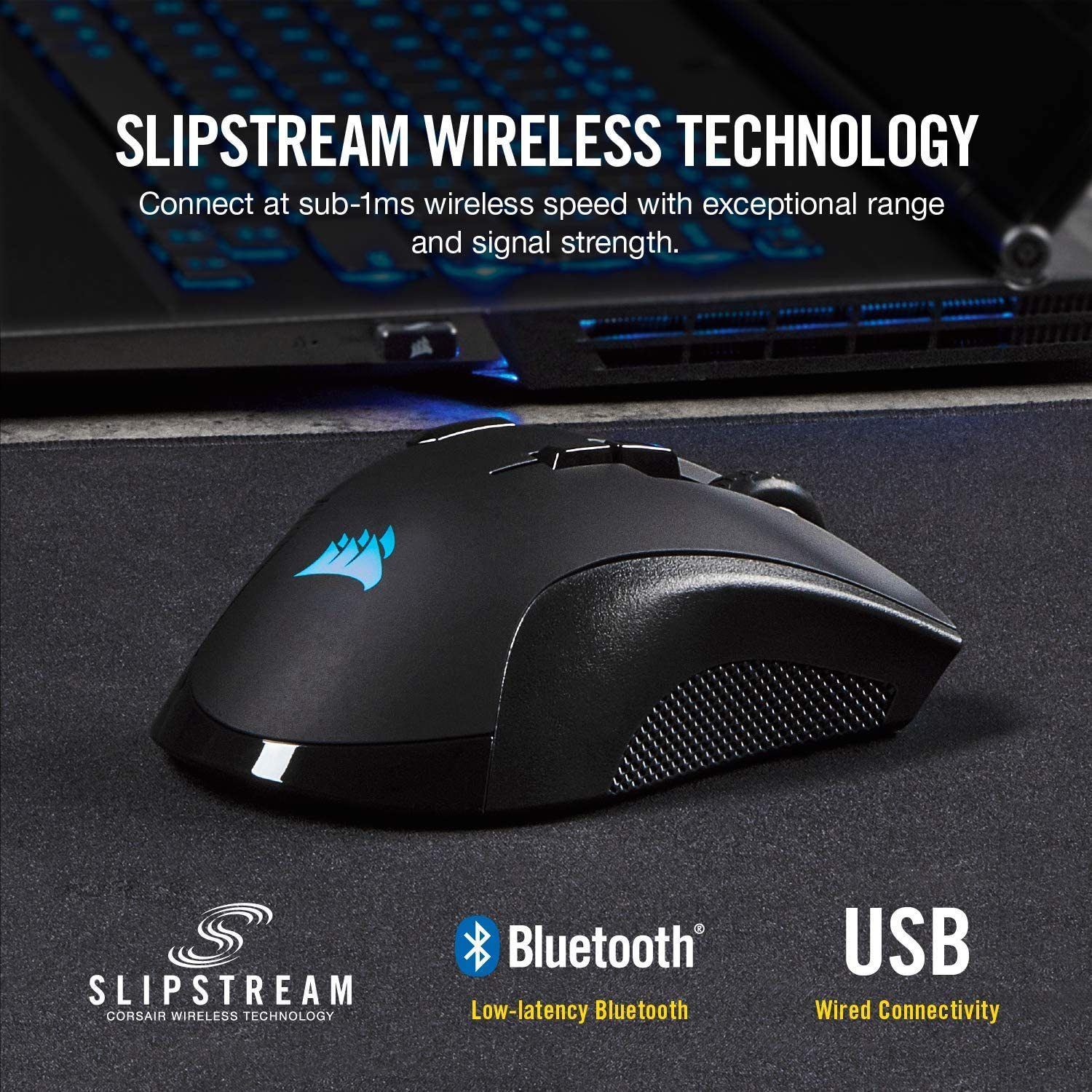 IRONCLAW Wireless RGB - FPS and MOBA Gaming Mouse - 18,000 DPI Optical Sensor - Sub-1 ms SLIPSTREAM Wireless