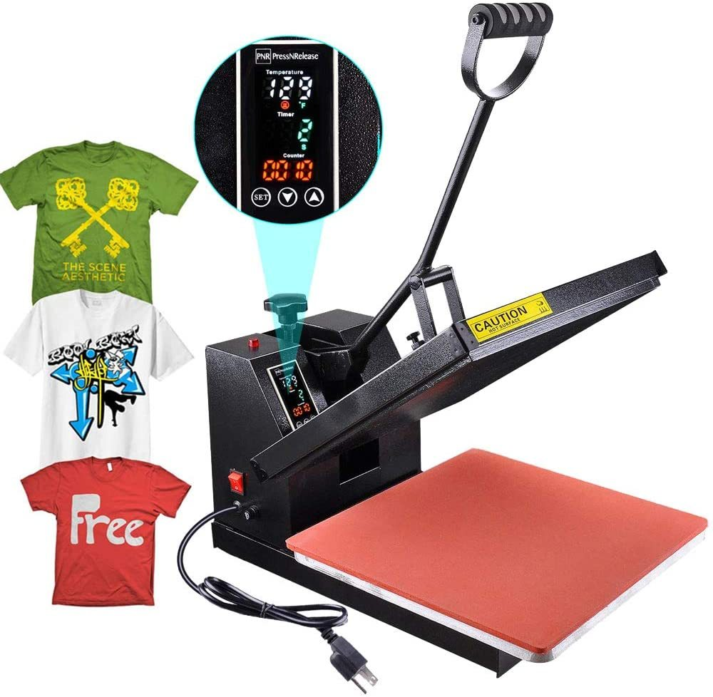 Heat Press Digital 15 x15 inch Platen Machine Sublimation T-Shirt Plate Mug Hat Transfer with LCD Timer Counter