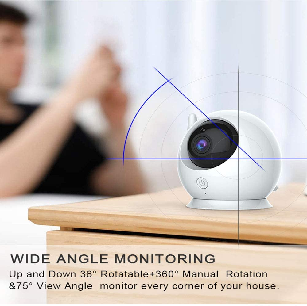 Video Baby Monitor, Digital 2.4Ghz Wireless Video Monitor with Temperature Monitor, Night Vision, 1080P, Including 110 ° Wide-Angle Lens