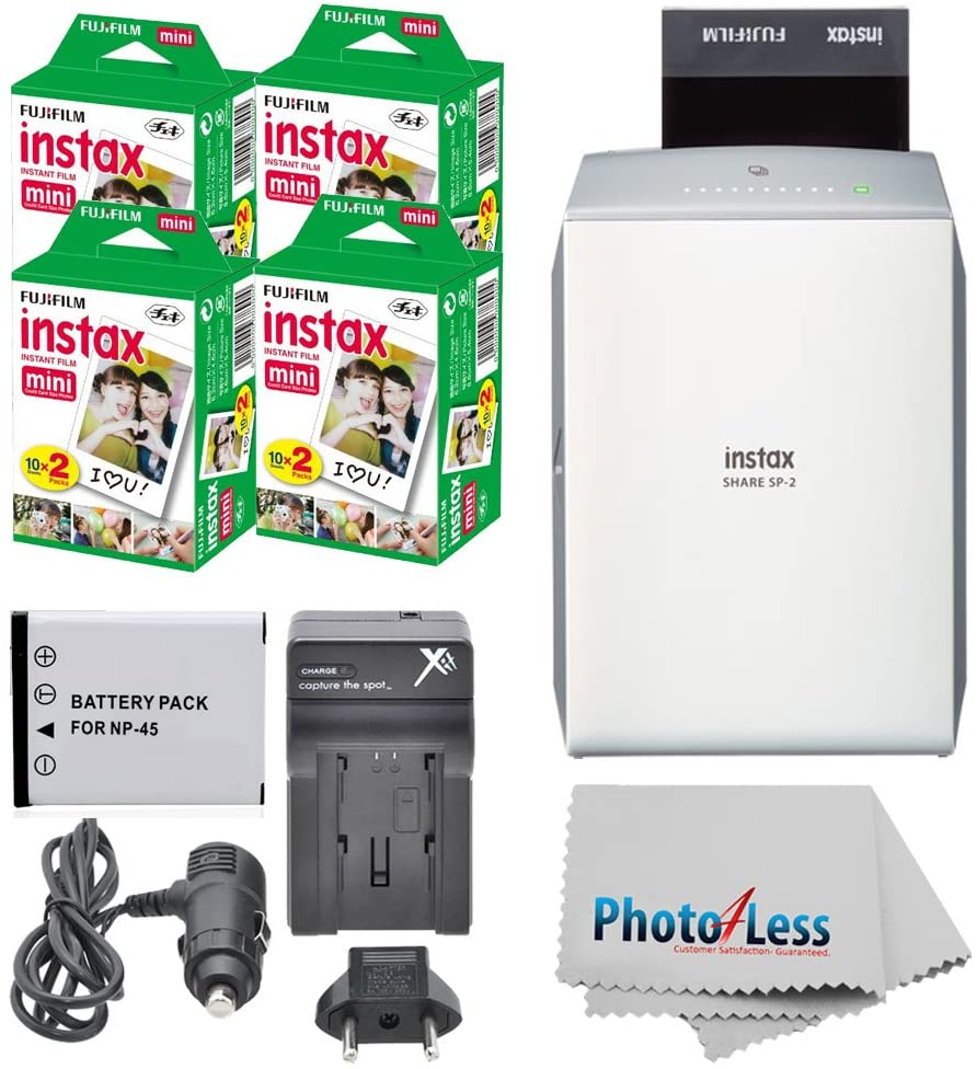 instax Share Smartphone Printer SP-2 (Silver) + Fujifilm Mini Twin Pack (80 Shots) + Travel Charger & Extra Battery + Cleaning Cloth + Filming Bundle - International Version (No Warranty)