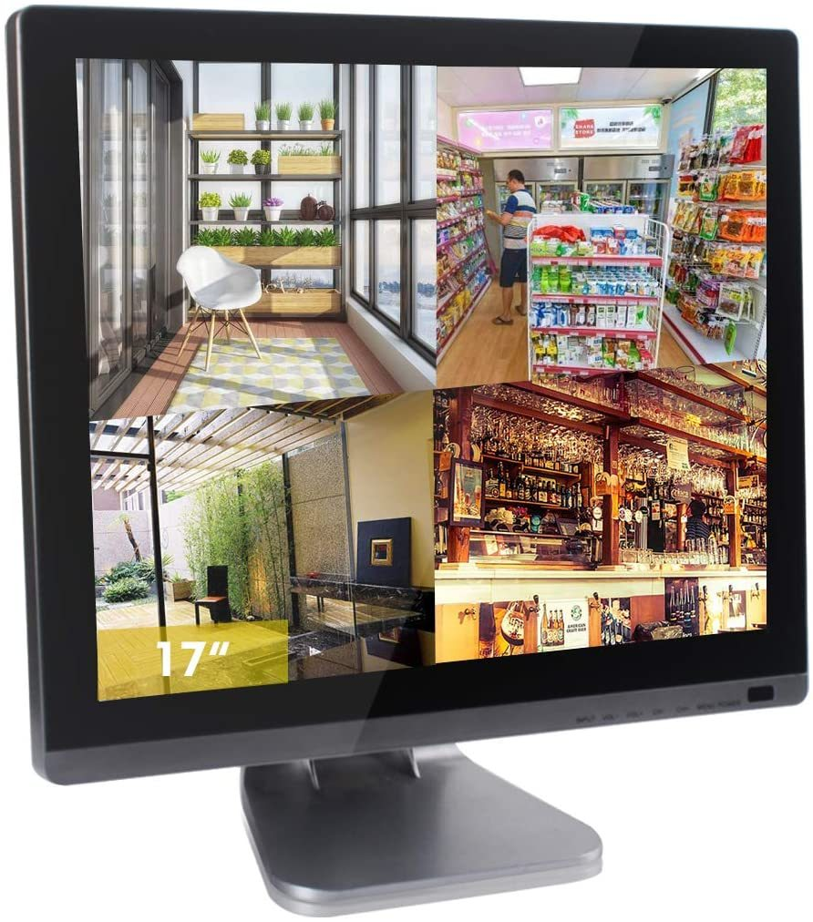 17 inch CCTV Security Monitor with BNC Chrome Silver Glass Panel VGA HDMI AV Built-in Speaker 4:3 HD Display LCD Screen Display with USB Media Player for Home Surveillance Camera STB PC 1280x1024