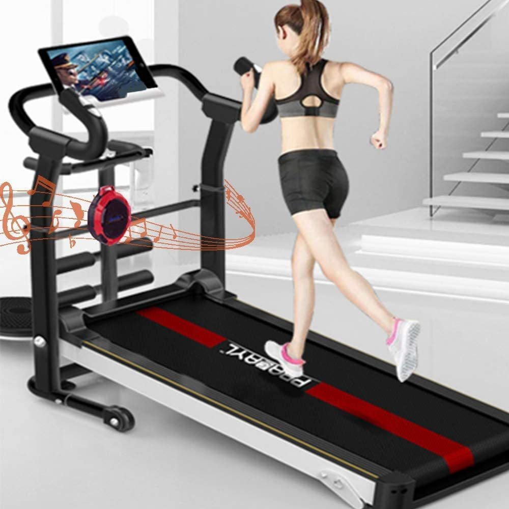 Mechanical Treadmill 6-in-1, with APP Monitoring, Wireless Speaker, Sit-ups Pannel, T-Twisting Machine, Waist Training Tray, Draw Rope Mechanical and Massage Wheel with Tablet Stand