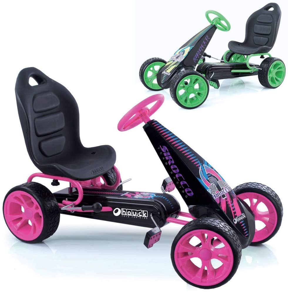 Sirocco - Racing Go Kart | Pedal Car | Low profile rubber tires | Pedal power auto-clutch free-ride | Adjustable seat - Pink