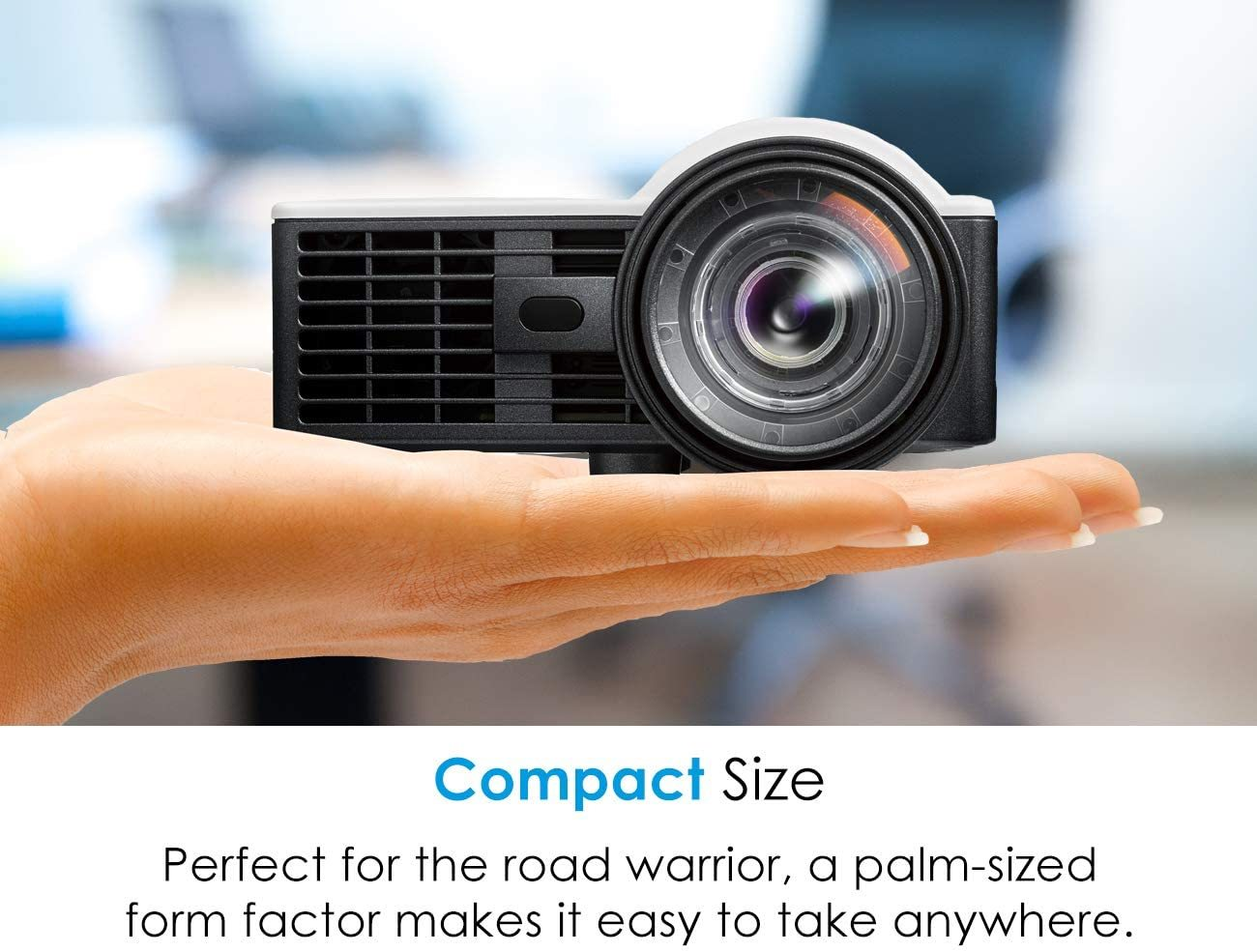 Portable LED WUXGA Support Mini Projector with Short Throw and Auto Focus for Office Presentations and Movies at Home