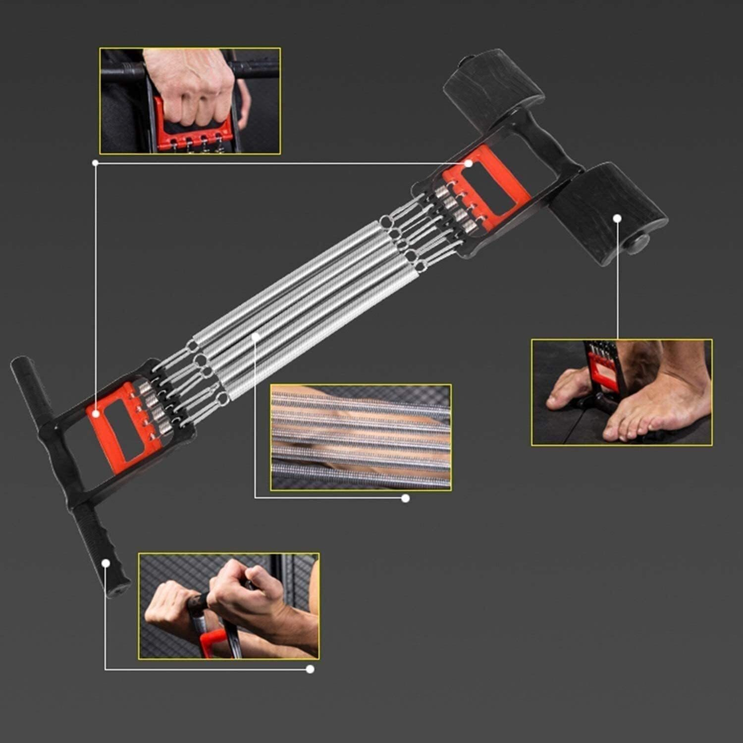 Spring Puller Chest Expander Multi-Function Men's Home Fitness Equipment Grip Arm Force Roll Back Training Elastic Pull Rope Fitness Equipment