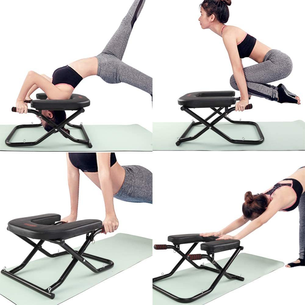 Yoga Headstand Bench - Stand Yoga Chair for Home Gym, Inversion Bench + Workout Resistance Band + Carry Bag