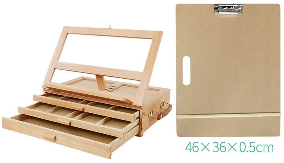 Easel Stand Desktop Easel Drawer Desktop Desktop Storage Liftable Hand-Painted Drawing Board Frame Portable Artist Desktop Case (Color : Natural, Size : 40x27x13cm)