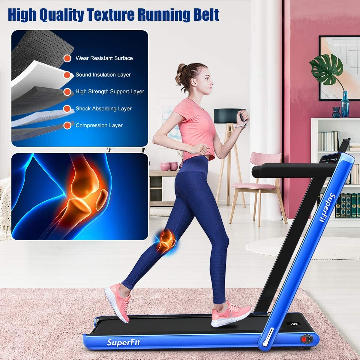 2 in 1 Under Desk Treadmill, 2.25HP Folding Walking Jogging Machine with Dual Display, Bluetooth Speaker & Remote Controller, Electric Motorized Treadmill for Home/Gym