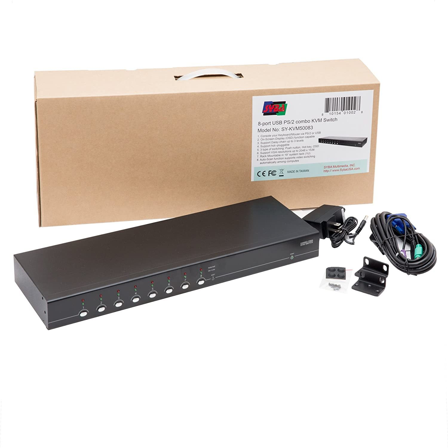 SY-KVM50083 8 Port VGA KVM Switch with USB and PS/2 Support