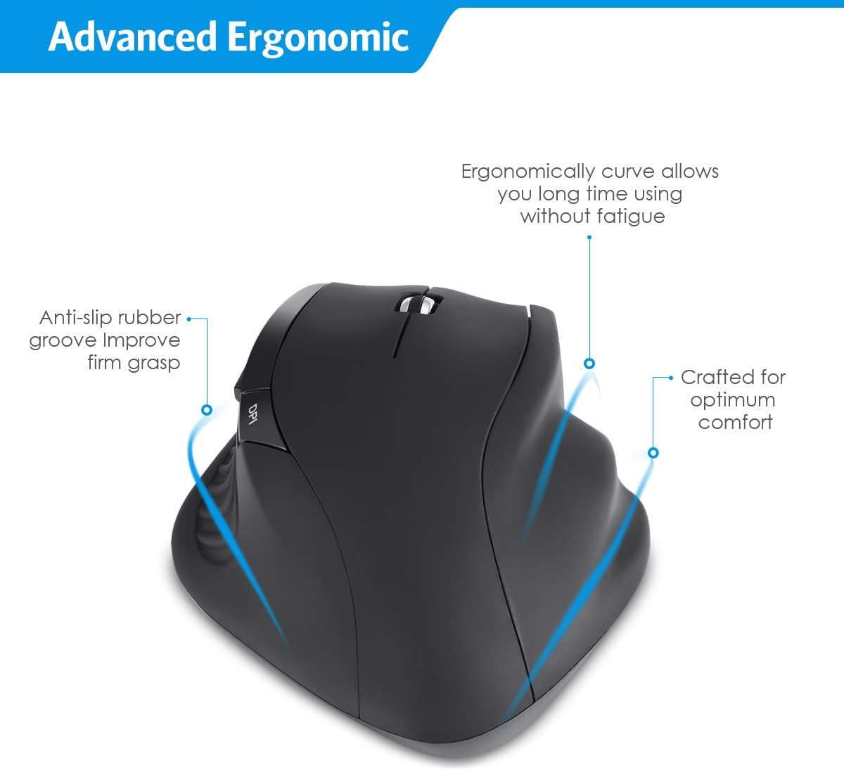 (2020 Upgraded NEW) Wireless Optical Mouse, 2.4GHz with Nano Receiver, (1000/1200/1600) Adjustable DPI Levels, with Side Control For PC/Laptop/Desktop - Windows/Mac