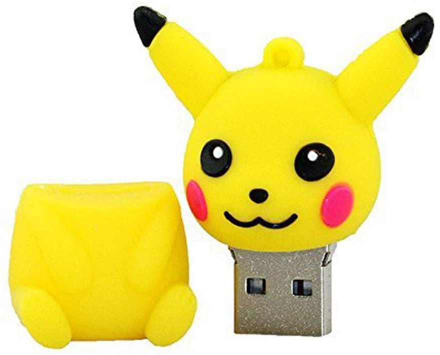 USB Flash Drive Memory Stick with U Disk Thumb Pen USB2.0 High Speed USB Stick Cartoon Anime Around Lovely Pokemon Pokemon Pikachu 4 to 128GB Student Gift (128GB,Yellow A 5 PCS)