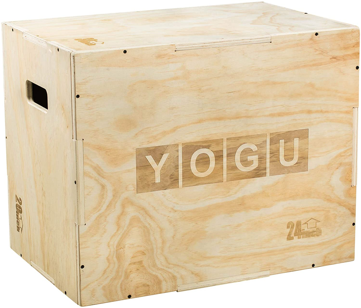 3 in 1 Wood Plyo Box with 4 Different Sizes (16/14/12 – 20/18/16 – 24/20/16 – 30/24/20)-Box Jump for Plyometrics Training, Cardio Exercises or Jump Training- Pre-drilled for Easy Assembling
