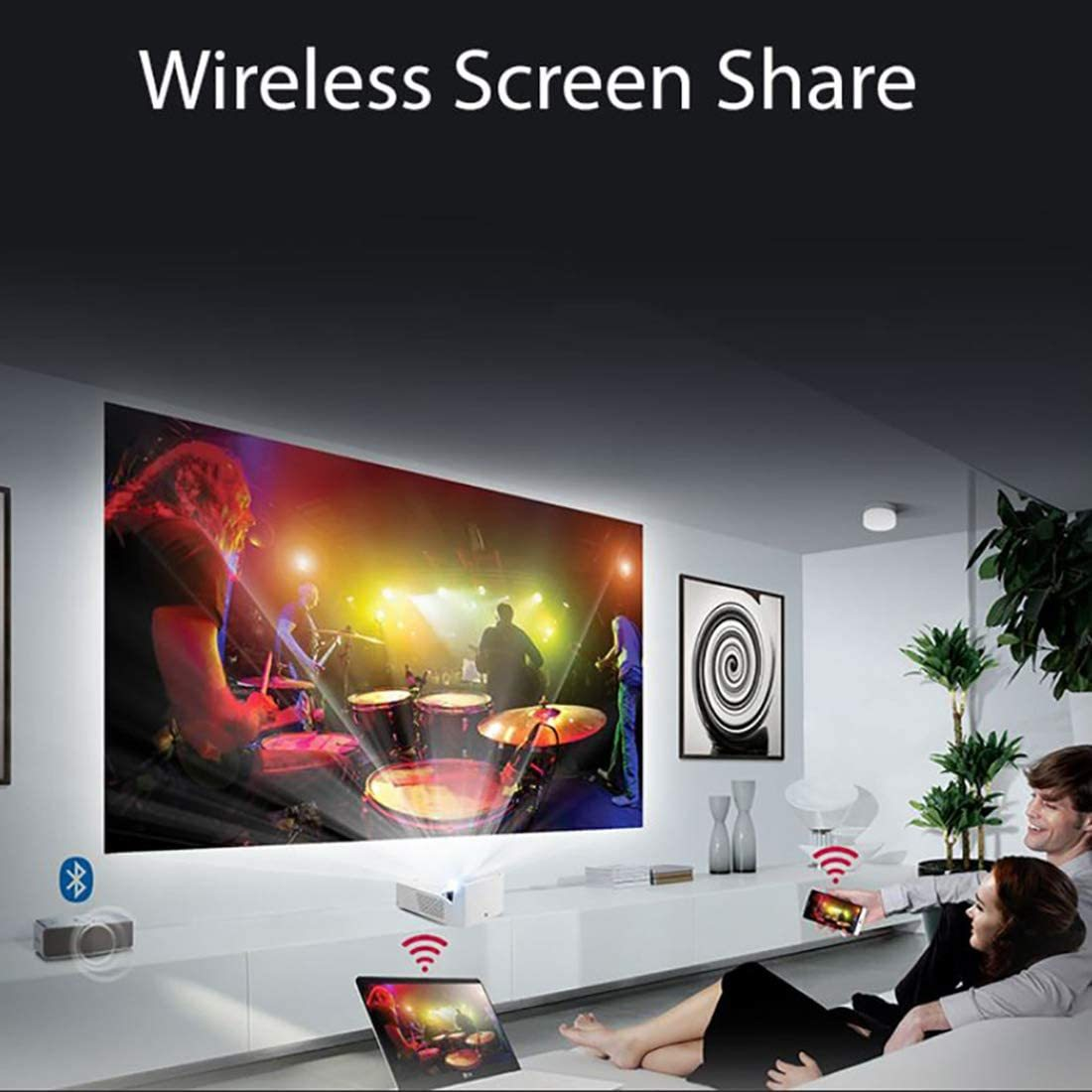 Ultra Short Throw LED Home Theater CineBeam Projector with Smart TV and Bluetooth Sound Out