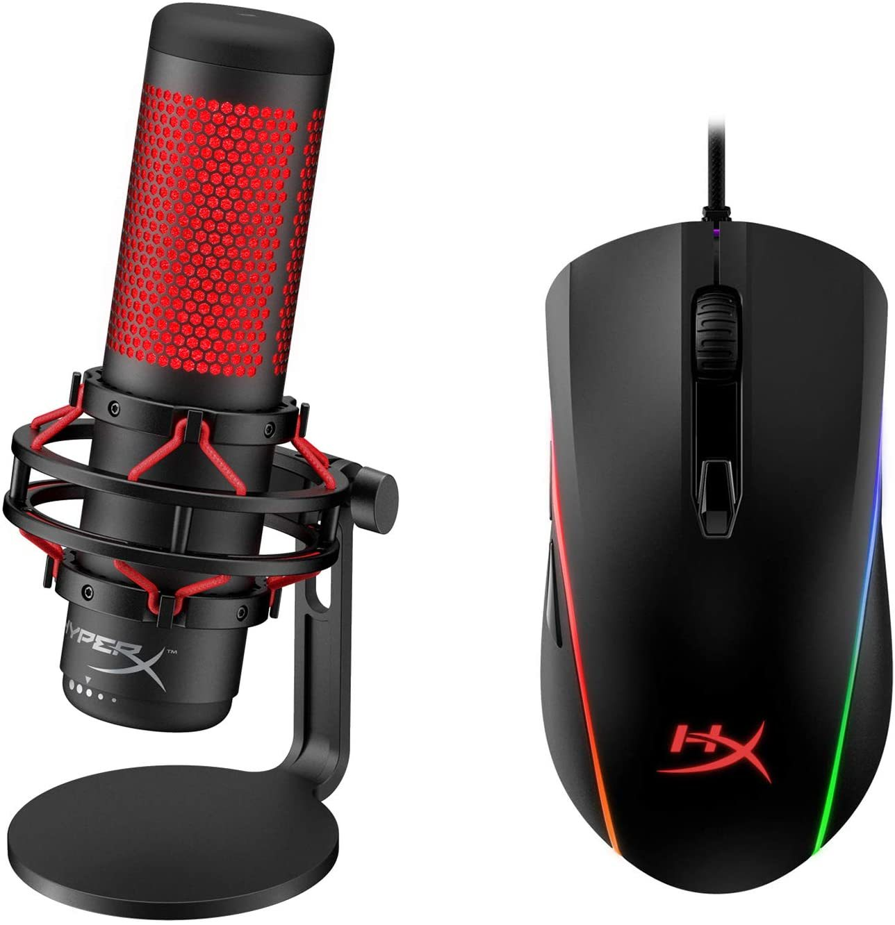 USB Condenser Gaming Microphone and HyperX Pulsefire Surge - RGB Wired Optical Gaming Mouse