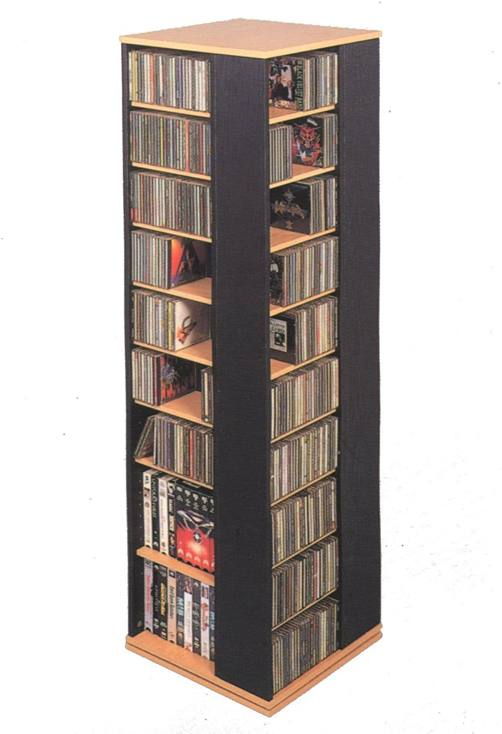 CD-1040C Revolving CD / DVD Storage Tower, Oak with Black